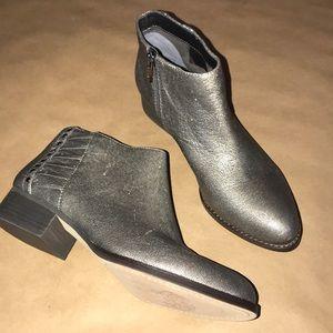Vince Camuto silver metallic zip booties